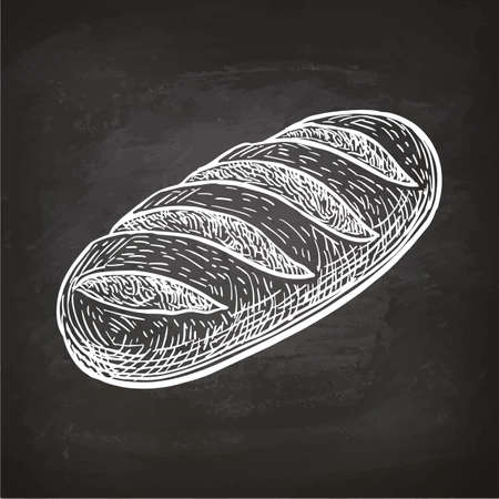 Loaf of bread. Chalk sketch on blackboard. Hand drawn vector illustration. Retro style.