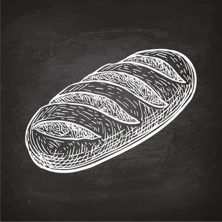Miche de pain. Croquis de craie sur tableau noir. Illustration vectorielle dessinés à la main. Style rétro.