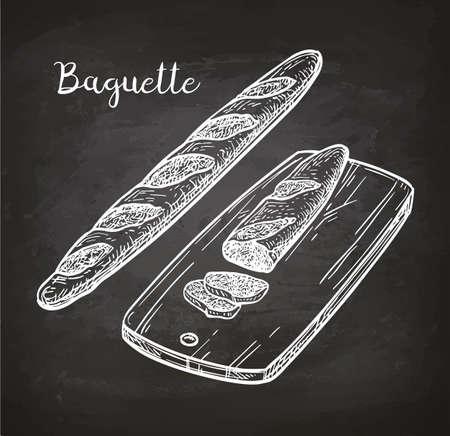 Baguette. Brood op snijplank. Krijtschets op blackboard. Hand getrokken vectorillustratie. Retro stijl.
