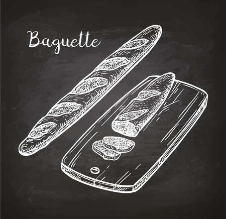 Baguette. Bread on cutting board. Chalk sketch on blackboard. Hand drawn vector illustration. Retro style.