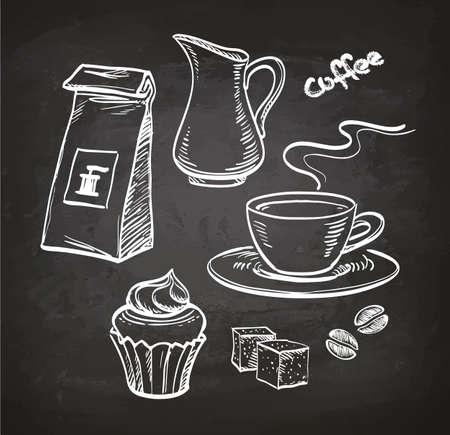 Coffee set. Chalk sketch on blackboard. Hand drawn vector illustration. Retro style.