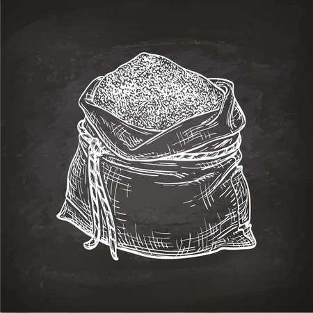 밀가루 가방. 분필 스케치 칠판에. 손으로 그린 된 벡터 일러스트 레이 션. 복고 스타일입니다. 일러스트