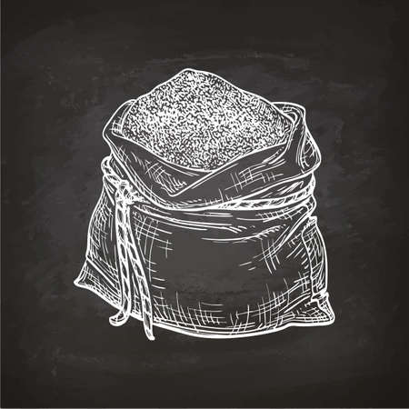 Bag of flour. Chalk sketch on blackboard. Hand drawn vector illustration. Retro style. Ilustração