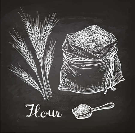 Wheat and bag of flour. Chalk sketch on blackboard. Hand drawn vector illustration. Retro style.