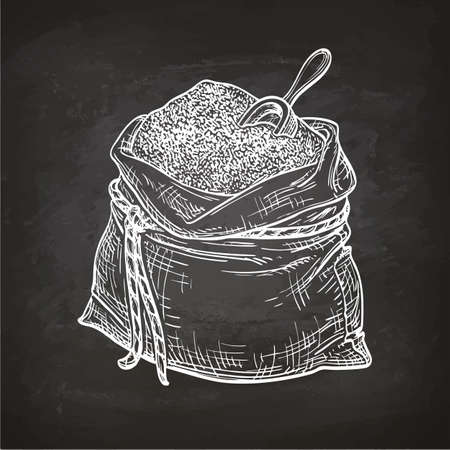 Bag of flour with scoop. Chalk sketch on blackboard. Hand drawn vector illustration. Retro style. Stok Fotoğraf - 82726636