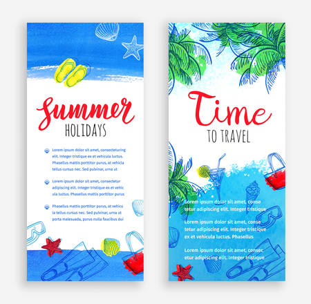 Summer vacation. Set of banner templates. Hand drawn vector illustrations. Retro style. Stock Vector - 82726812
