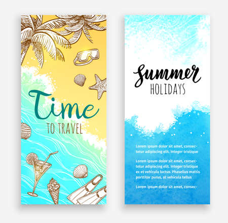 Summer vacation. Set of banner templates. Hand drawn vector illustrations. Retro style.