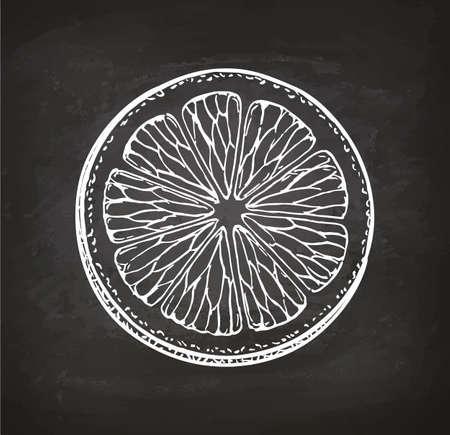 레몬 슬라이스입니다. 분필 스케치 칠판에. 복고 스타일입니다. 스톡 콘텐츠 - 82727437
