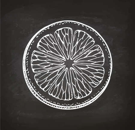 Lemon slice. Chalk sketch on blackboard. Retro style.