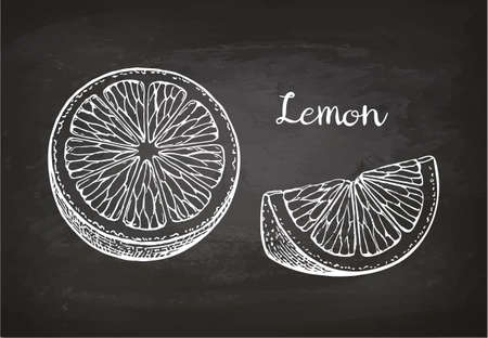 Lemon slices. Chalk sketch on blackboard. Retro style.