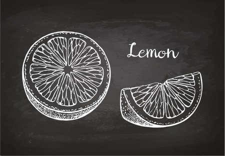 Plakjes citroen. Krijtschets op blackboard. Retro stijl.