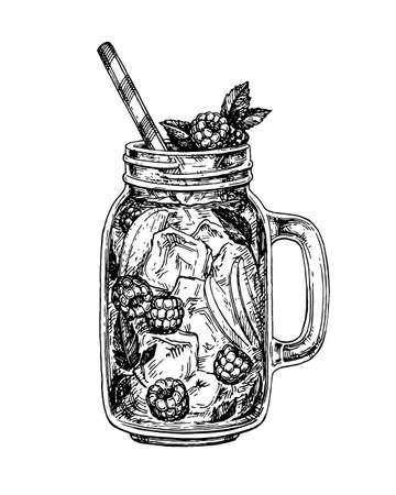 limonade met framboos in glazen pot. Retro stijl inkt schets geïsoleerd op een witte achtergrond. Hand getrokken vectorillustratie. Stock Illustratie