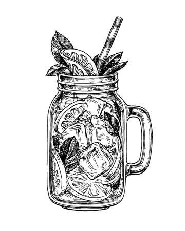 lemonade in mason jar. Retro style ink sketch isolated on white background. Hand drawn vector illustration of mojito. Vettoriali