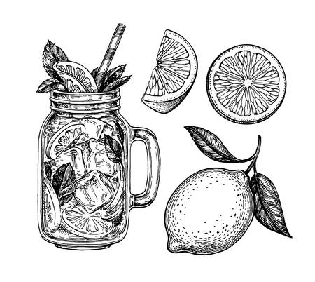 Lemon set. Isolated on white background. Hand drawn vector illustration. Retro style ink sketch.  イラスト・ベクター素材