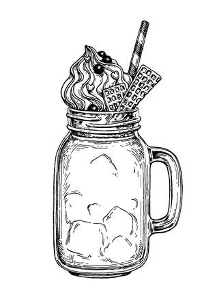 Milkshake in mason jar. Retro style ink sketch isolated on white background. Hand drawn vector illustration.