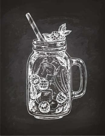 Lemoniada z malin w słoiku mason. Ilustracje wektorowe