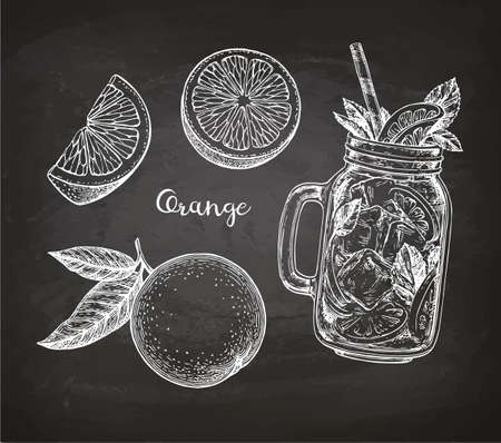 Chalk sketch of orange