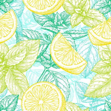 레몬과 민트 패턴. 일러스트