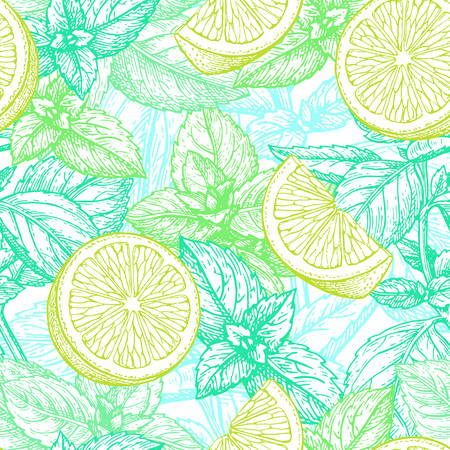 pattern with lime and mint illustration. Ilustração