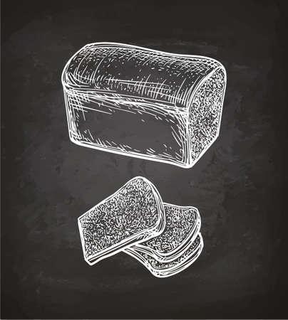 칠판 배경에 토스트 빵의 분필 스케치. 손으로 그린 된 벡터 일러스트 레이 션. 복고 스타일입니다.