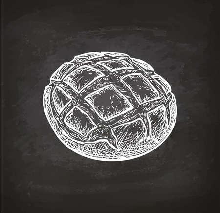 チョーク スケッチ黒板背景に素朴なパン。手には、ベクター グラフィックが描画されます。レトロなスタイル。