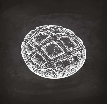 Chalk sketch of rustic bread on blackboard background. Hand drawn vector illustration. Retro style. 矢量图像