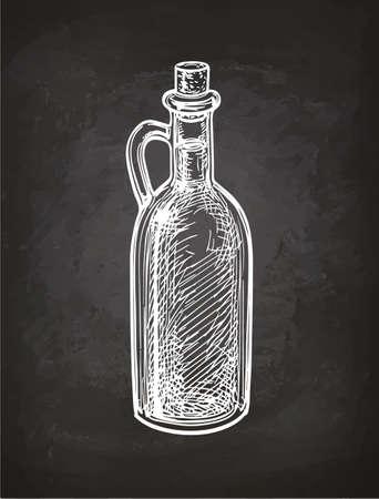 チョーク黒板背景にオリーブ オイルの瓶のスケッチ。手には、ベクター グラフィックが描画されます。レトロなスタイル。  イラスト・ベクター素材