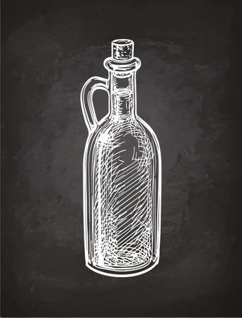 Chalk sketch of olive oil bottle on blackboard background. Hand drawn vector illustration. Retro style.