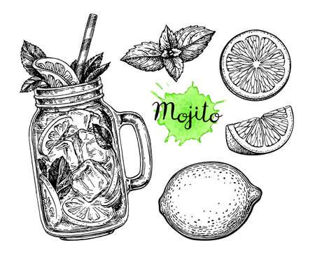 Boisson Mojito et ingrédients. Esquisse encre de style rétro isolée sur fond blanc. Illustration dessinée dessinée à la main.