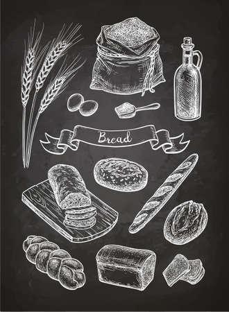 빵의 분필 스케치.