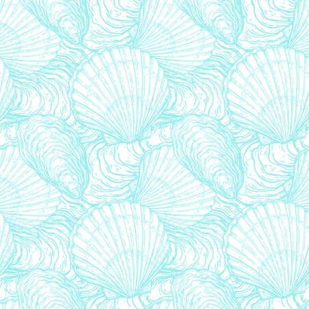 Patrón sin fisuras con conchas marinas Foto de archivo - 84356782