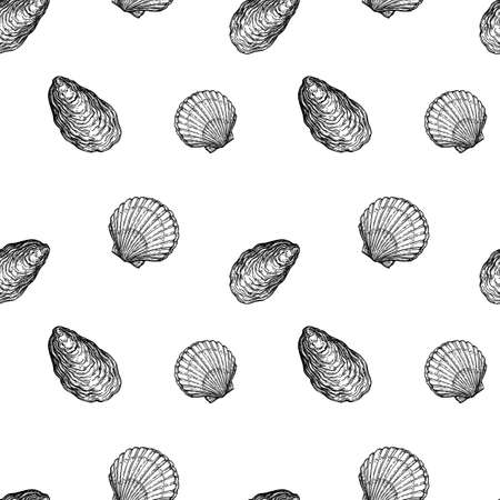 Seamless pattern with seashells