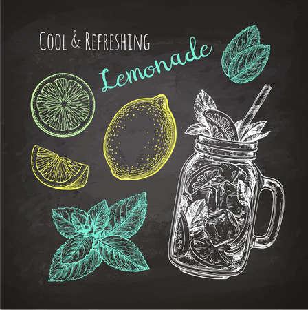Croquis à la craie de la limonade Banque d'images - 84356818
