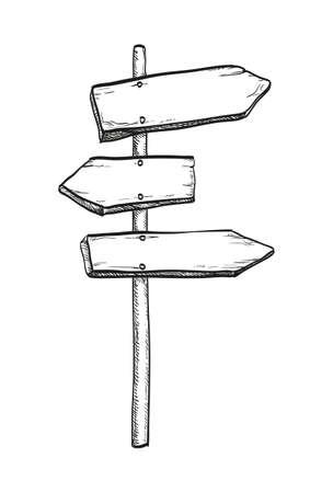 Ink sketch of wooden signpost