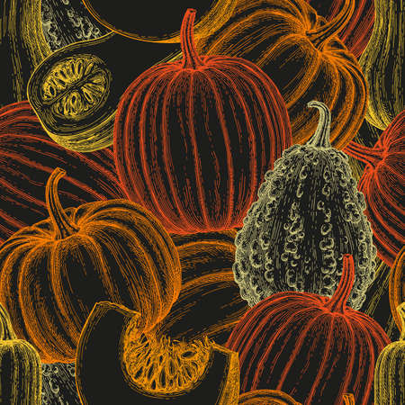 Seamless pattern with gourd, pumpkin and butternut squash.