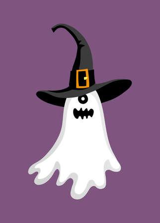 Cute halloween ghost in hat.