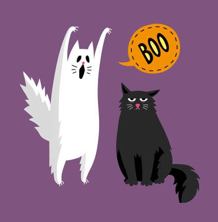 Lindo fantasma de halloween y gato negro.