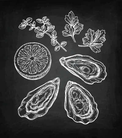 Croquis de craie d'huîtres. Banque d'images - 87113883