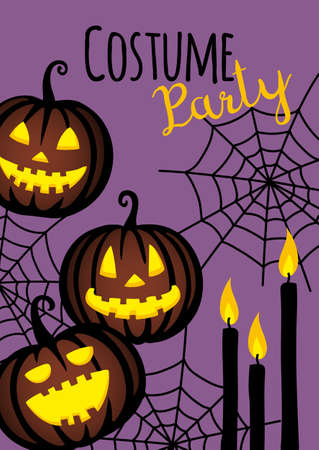 Halloween cute design. Invitation or greeting card. Banner template. Flat style vector illustration.