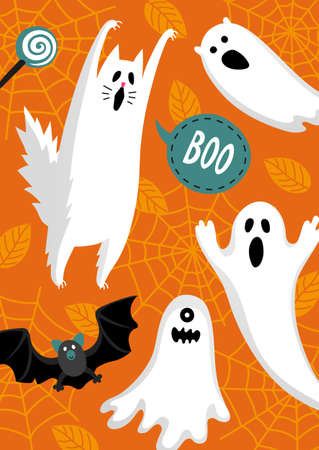Halloween design. Invitation or greeting card. Banner template. Flat style vector illustration. Cute ghosts characters. Spooky cat.