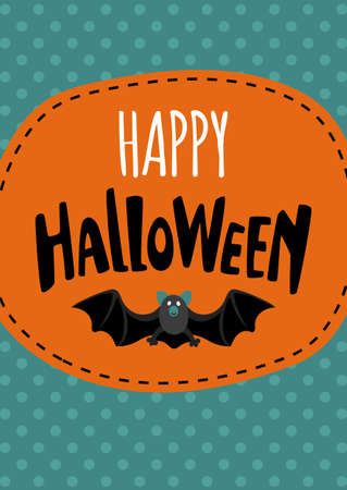 Halloween cute design. Invitation or greeting card. Banner template. Flat style vector illustration. Фото со стока - 87208947