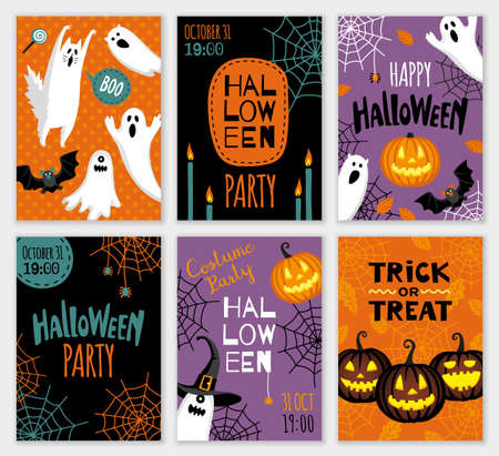 Collection of halloween banner templates.