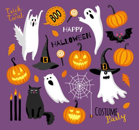 Flat style halloween set. Illustration