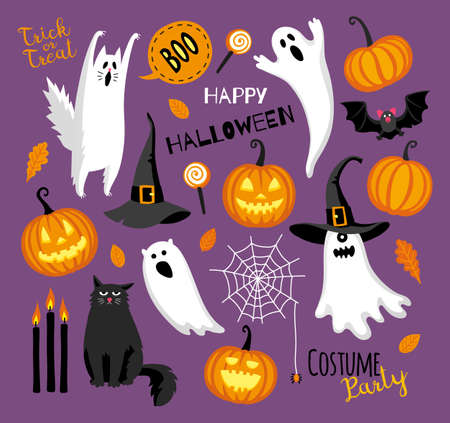Flat style halloween set. Stock Illustratie
