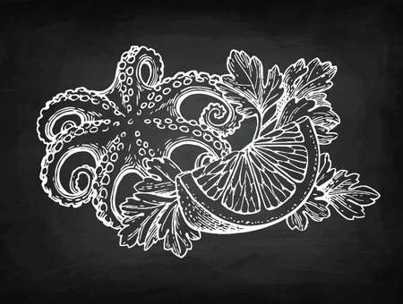 Seafood chalk sketch Ilustração