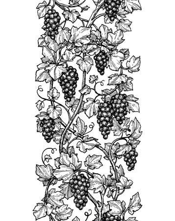ブドウのシームレスなイラスト。  イラスト・ベクター素材