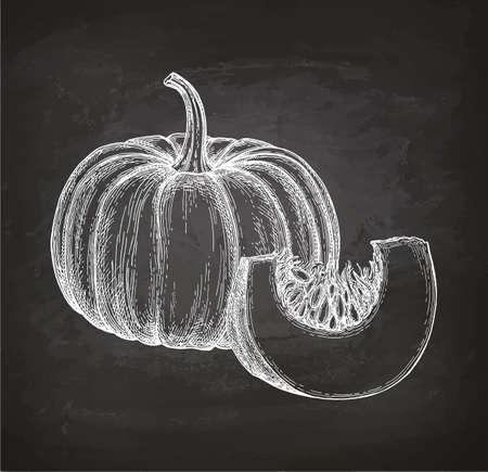 Chalk sketch of pumpkin Illusztráció