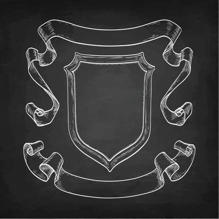 Vintage ribbons and shield  in chalkboard design illustration.
