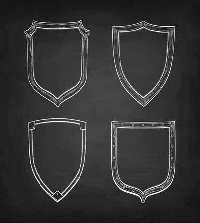Chalk sketch of vintage shields on blackboard design illustration. Illustration