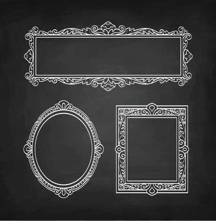 Set of banners. Chalk sketch of vintage frames on blackboard background. Hand drawn vector illustration..